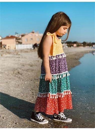 Hilal Akıncı Kids Kiz Çocuk Parçali Renklı Ispanyol Model Elbıse Sarı